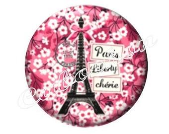 1 cabochon 25mm glass, Paris Eiffel Tower, pink tone
