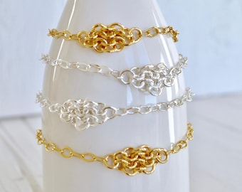 Dainty Diamond Mesh Chainmaille Bracelet - Sterling Silver Plated - Flat Cable Link Bracelet - European 4 in 1 - By BALOOS STUDIO