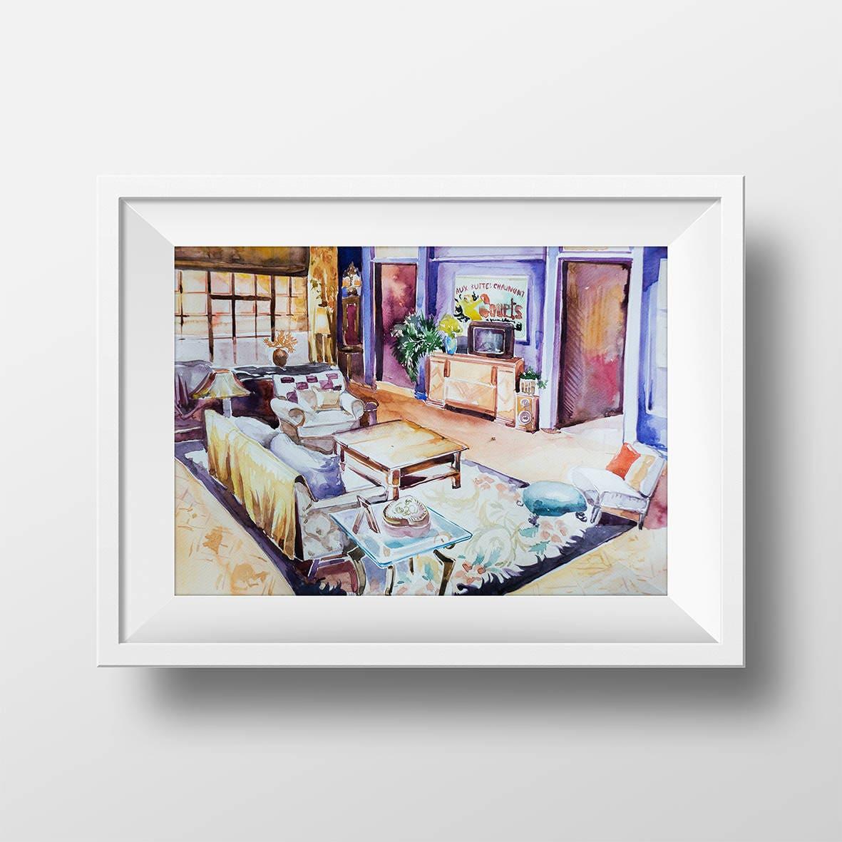 Wandkunst Freunde TV-Show Monicas Wohnzimmer Aquarell Druck