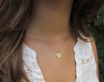 Gold Disc Necklace, Hammered Gold Disc Necklace, Simple Gold Necklace, Disc Necklace