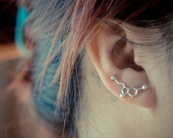 Serotonin Molecule Sterling Silver Ear Climbers