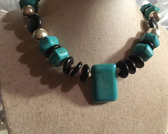 Turquoise Necklace - Black Jewelry - Gemstone Jewellery - Chunky - Sterling Silver - Fashion -Trendy