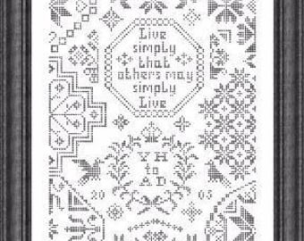 Simple Little Quaker cross stitch pattern by Papillon Creations monochromatic Live Simply That Others May Simply Live friend