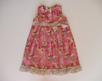 GIRLS PARTY DRESS, girls dress, baby dress, toddler dress, special occasion, birthday, holiday, summer, handmade, pink,  girls clothing