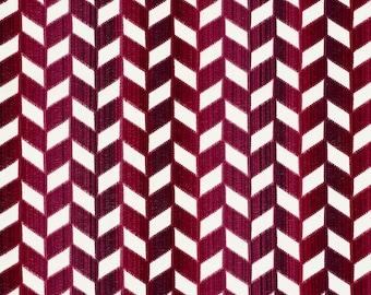 SCHUMACHER CHEVRON VERTICAL Strie Cut Velvet Fabric 10 Yards Garnet