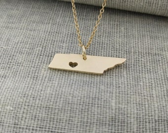 Tennessee State Charm  Necklace, TN State Necklace ,State Shaped Necklace,Personalized Tennessee State Necklace 18K Gold Plated With A Heart
