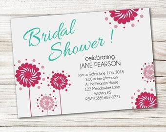 Bridal Shower Invitation, Colorful Bridal Shower Invitation