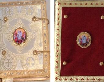 Gospel and Epistle Covers (εὐαγγέλιον, evangelion) in your choice of Red Velvet or Ecclesiastical Brocade Fabrics