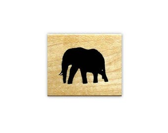 ELEPHANT SILHOUETTE Mounted African rubber stamp - Africa, scene building stamp, animal, wildlife, African Safari, Sweet Grass Stamps No.17