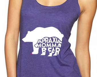 Apraxia Shirt, Apraxia Tank Top Apraxia Awareness Momma Bear Mama Bear