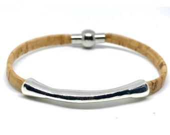 NEW!!! BOHO Cork Zamak Bracelet, Vegan, Faux Leather, 5mm flat cork, Cuff Bracelets, Gift for Her, Magnetic Clasp