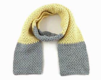 Stylish Scarf, Organic Clothing, Organic Cotton Scarf, Crochet Scarf, Summer Wrap, Light Scarf, Organic Cotton, Yellow Kids' Scarf,