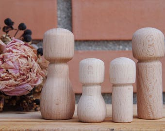 Wooden Peg Doll  kokeshi Girl and Boy personalized custom little size