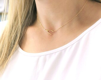 Choker Necklace, Dainty Choker Necklace, Wishbone Necklace, Silver or Gold Layering Necklace, Gift for her, The Silver Wren