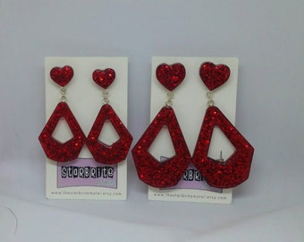 Retro Dangles & Hearts earrings