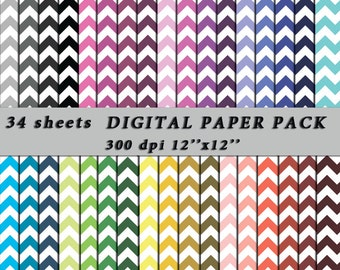80% Off, Chevron Digital Paper, Digital Scrapbooking Paper, Chevron Pattern, Digital Zig Zag Paper, Chevron Scrapbooking, Paper Digital