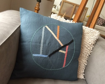 YOKO Embroidered Pillow linen, stained glass pattern