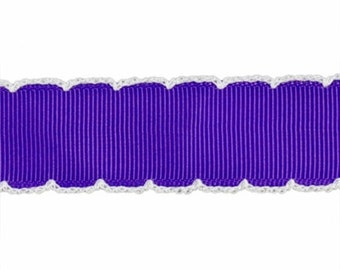 NOODLE HUGGER Non slip ribbon headband - bright purple with white moonstitch - 7/8 inch (running, working out, everyday: women and girls)