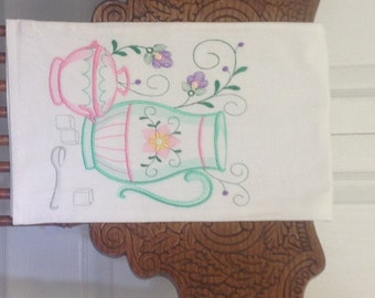 Beautiful embroidered flour sack dish towel