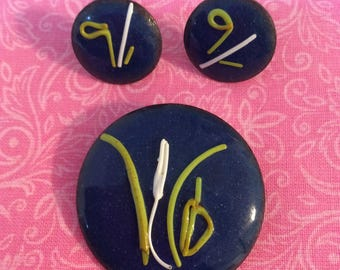 Copper & Enamel pin and earring set.