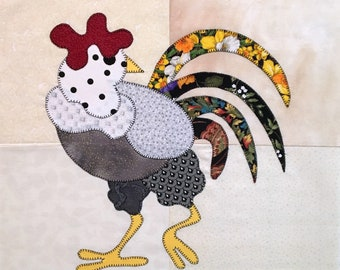 Rooster Appliqued Quilt Block