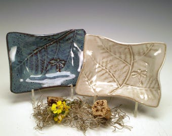 """4 x 5 1/2"""" Dragonfly Pottery Dishes, Art Studio Pottery, Handmade Stoneware, Dragonfly Ceramic Dishes, Rectangle Pottery Dishes"""