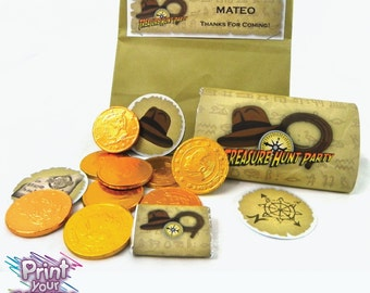 Treasure Hunter Party Kit by Print Your Fiesta, editable digital party set,  Indiana Jones Inspired party, cards, wrappers, toppers