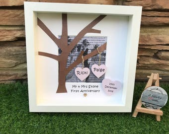 Personalised first dance tree frame with wedding song or vows, wedding gift, anniversary gift, first anniversary gift, paper gift