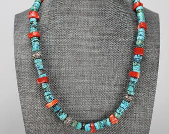 Turquoise and Coral necklace with Bali beads