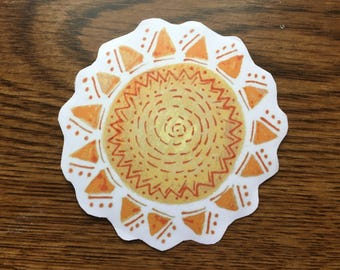 Sun Design Vinyl Sticker, Sun Laptop Sticker