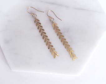 QUINN - Shiny Gold Fishbone Chain Link Tassel, Gold Filled Earwire, Dangle Earrings