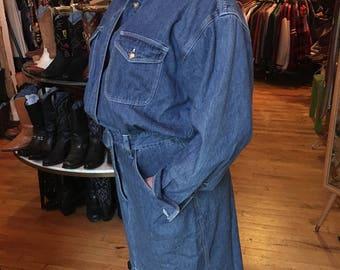 Vintage Blue Denim Jean Dress from Bloomingdales Women's Size 14