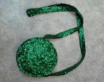KITSCHSCHICK Vintage sequin handbag from the 1990s / green retro purse / nineties bag with green sequins