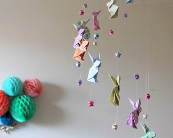 """Origami rabbits """"Pastels Zen"""" and stars baby mobile"""