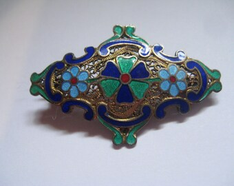 Art Deco Bar  Pin with Enameled Flowers  and C Clasp