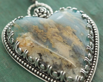Plume Agate Turquoise Doublet Heart and Sterling Silver Necklace, Boho Jewelry, Southwestern Jewelry