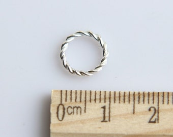 Sterling Silver Jump Ring, 925 Sterling Silver Jump Ring, Twisted Wire Jump Ring, Closed Ring, 10mm ( 1 piece )