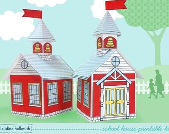 school house -  cookie box , teacher appreciation gift box, party favor centerpiece printable PDF kit - INSTANT download