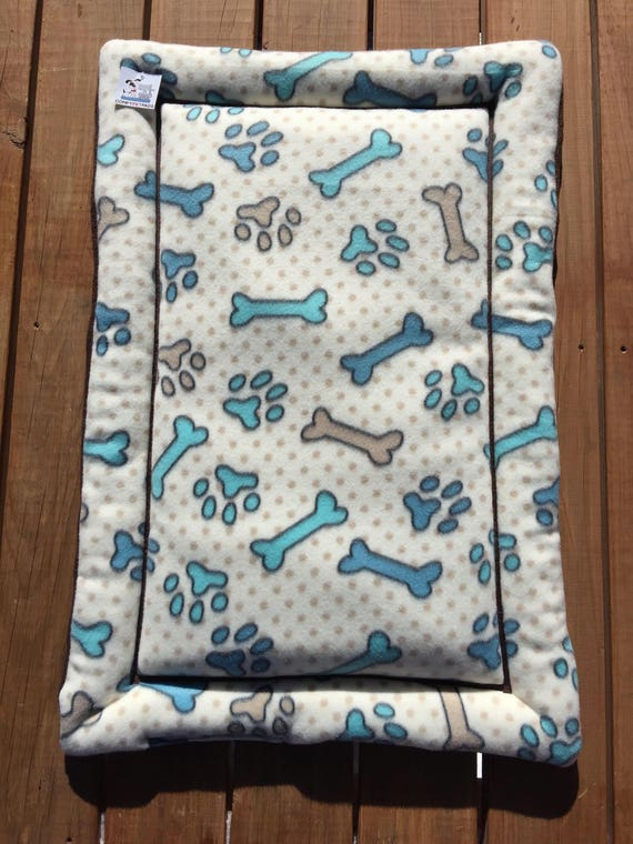 Dog Crate Bedding, Blue Dog Bed, Dog Bones, Paw Prints, Dog House Pads, Kennel Liner, Dog Carrier Pad, Puppy Bedding, Large Crate Mat