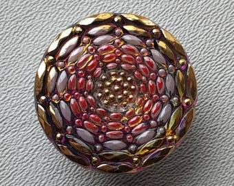 CZECH GLASS BUTTON: 27mm Handpainted Floral Motif Glass Button, Pendant, Cabochon (1)