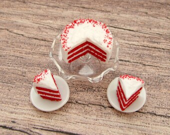 Miniature Red Velvet Cake - Miniature Cake - Dolls House Miniature Food - Bakery Item for Doll House 1:12 Scale - Made in the UK