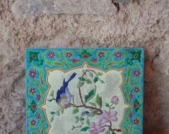 French Antique Bird Painting Wall Tile, Gien / Vintage Bird Image / Handpainted Tile / Unique Gift / Farmhouse