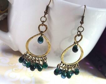 Emerald Briolette Chandelier Earrings,Vintage Bronze Infinity Chandelier Earrings,Dangling Czech Emerald Glass Briolette Beads FREE SHIPPING