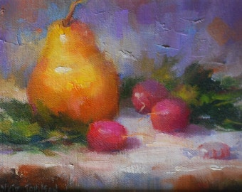 Oil Painting  of Peppermint Candy, Pear, and Radishes. Impressionistic Art Painting. Original Still Life Small  Painting by Frankie Johnson.