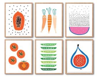 Kitchen wall decor, Fruits Art print, Vegetable Art, Tomato Art, Papaya, Watermelon, Fig, Carrot, Peas, Kids room decor, Baby Nursery decor