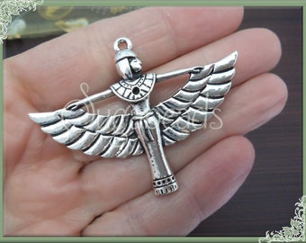 3 Large Winged Egyptian Goddess Pendants Antiqued Silver 56mm PS15