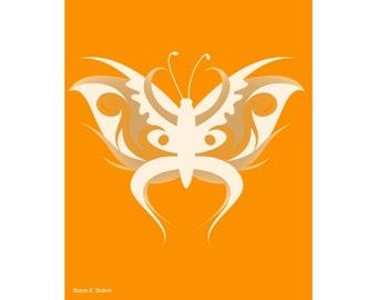Stylized Butterfly Art, Orange Tan, Spring Garden, Fancy Vector Graphics, Woodland Wall Hanging, Feminine Home Decor, Giclee Print, 8 x 10