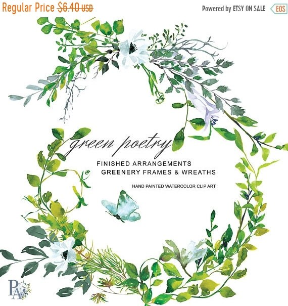 2 Days SALE Hand Painted Watercolor Greenery Clipart