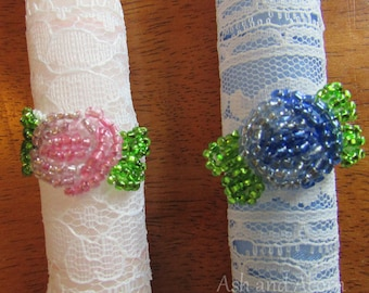 Rosette--Orthodox Wedding or Baptismal Candle, 15-inches, Blue or Pink
