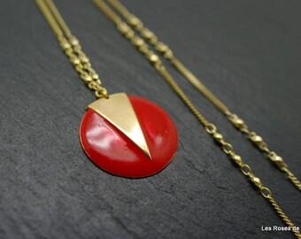 long circle long necklace, enamel, gold filled